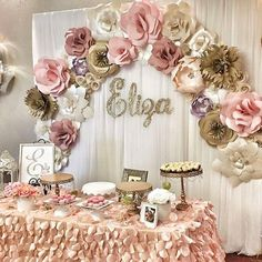 paper flowers, paper flower backdrop, wedding decor, retirement party, corporate… - Home Page Fiesta Shower, Shower Party, Shower Cake, Paper Flower Wall, Giant Paper Flowers, Diy Flowers, Wedding Flowers, Table Flowers, Paper Flowers For Sale