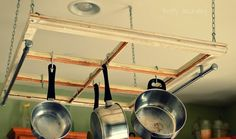 DIY Old Window Pot Rack - The 36th AVENUE