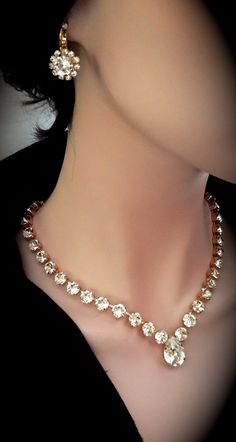 Bridal jewelry Swarovski crystal necklace by QueenMeJewelryLLC