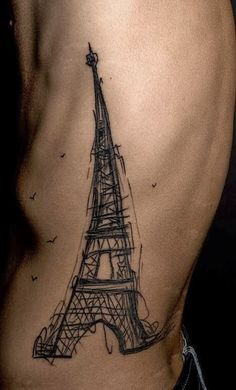 Rib Tattoos of Iron Tower for Men