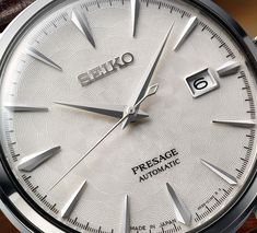 Seiko Presage Sakura Hubuki and Starlight 'Cocktail Time' Watches Seiko Mechanical Watch, Cool Watches, Watches For Men, Japanese Cocktails, Seiko Samurai, Seiko Presage, Learn Art, Seiko Watches, Automatic Watch