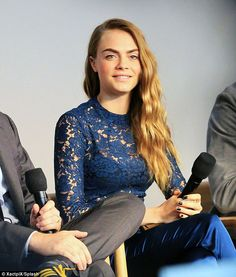 Glowing:Cara Delevingne appeared on fine form as she promoted her new movie Paper Towns i...
