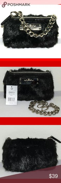 """New Brighton My Flat London black faux fur purse New with tag - $80 7 1/2"""" wide - 4 1/2"""" high - 1 1/2"""" deep Black faux fur with black patent leather trim Accented with a My Flat in London name plate Detachable 14"""" chain strap Top zippered closure One compartment with three card slots Pink signature My Flat in London lining Brighton  Bags Mini Bags"""