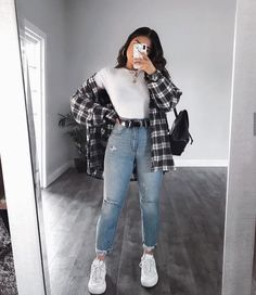 OOTD😍♥️Yayy or Nayyy? Swipe up to see the whole outfit.OOTD😍♥️Yayy or Nayyy? Swipe up to see the whole outfit. Mode Outfits, Retro Outfits, Vintage Outfits, Tomboy Outfits, Uni Outfits, Casual School Outfits, Swag Outfits, Cute Outfit Ideas For School, Cute Grunge Outfits