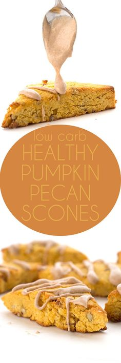 Move over, Starbucks! We've got a healthy low carb pumpkin scone recipe. This sugar-free and grain-free scone makes a delicious keto breakfast. via @dreamaboutfood