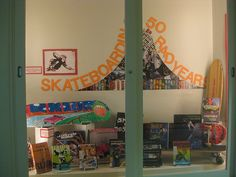 Love this display idea!  Could use past issues of Transworld Skateboarding to add to display.