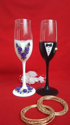 Bride and Groom Champagne glasses Wedding FlutesRose by HiMaria