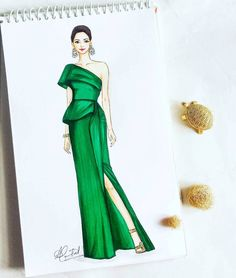 Image may contain: 1 person Dress Design Sketches, Fashion Design Sketchbook, Fashion Design Drawings, Fashion Sketches, Fashion Drawing Dresses, Fashion Illustration Dresses, Dress Illustration, Fashion Art, Fashion Models