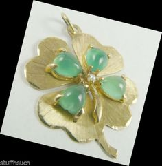 Good-Luck-Lucky-Charm-Vintage-14K-Gold-4-Leaf-Clover-Colorful-Green-Stones..