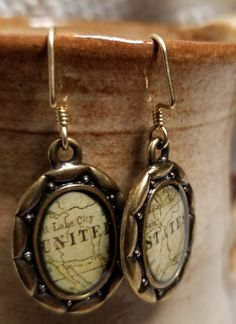 Handmade Earrings - United States Map #MartinMadeBeadThings #DropDangle