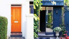 Colorful front doors - love the monochromatic midnight blue entry with painted brick.