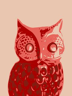 #animal #bird #owl #barn owl # abstract #formalism #red #terracota #terracotta #teracotta #brown #toy #doll #Keshava Shukla #Abstract Owl Contours red #artistic #stylish #funky #printmaking  #interiordesign #artprints #poster #cushions #pillows