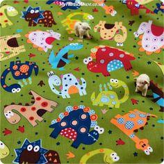 RESTOCKED   Fairy Tale ♥ 50x54cm Cute Dinosaur in Kiwi Green Cotton Fat Quarter Fabric - My Fabric House