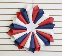 patriotic wreaths that will fill you with pride, crafts, seasonal holiday decor, wreaths, Paper Rolled Red White and Blue Memorial Day Decorations, Memorial Day Wreaths, 4th Of July Decorations, Independence Day Decoration, Birthday Decorations, Fourth Of July Decor, 4th Of July Party, July 4th, Patriotic Wreath