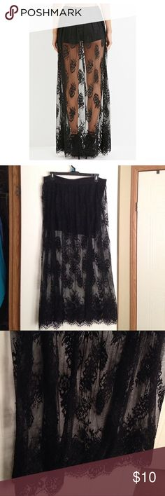 Long black lace maxi skirt From forever21, has cotton shorts underneath. Really comfortable. Size 1X Forever 21 Skirts Maxi