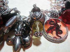 Art: Dragon Altered Art Charm Bracelet ooak by Artist Lisa  Wiktorek