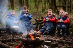 Activites in the forest site include fire-lighting, cooking and den-building