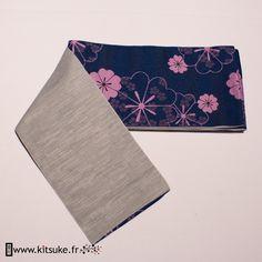 Hanhaba Obi Bleu marine motif fleur - kitsuke.fr