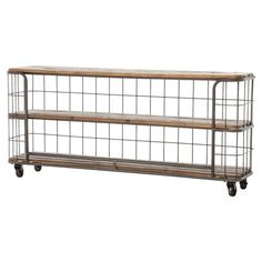 Foundry Industrial Style 3 Tier Rustic Iron Wood Console on Wheels