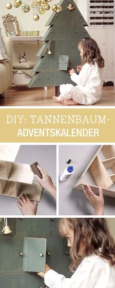 Adventskalender aus Holz selberbauen / wooden advents calendar in shape of a tree via DaWanda.com