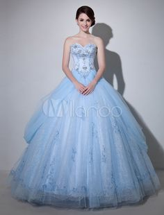 Light Sky Blue Sweetheart Ball Gown Strapless Embroidered Bridal Dress - Milanoo.com