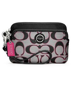 COACH POPPY SIGNATURE SATEEN METALLIC DOUBLE ZIP WRISTLET - Wallets & Wristlets - Handbags & Accessories - Macy's