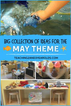 Plan your toddler and preschool May themes with ideas from this collection of hands-on ideas! #toddlers #preschool #teachers #may #themes #activities #curriculum #lessons #ideas #ocean #dinosaurs #classroom #homeschool #teaching2and3yearolds Playdough Activities, Dinosaur Activities, Alphabet Activities, Learning Activities, Preschool Activities, Dinosaur Classroom, Toddler Classroom, Toddler Preschool, Ocean Lesson Plans