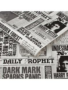 Harry Potter Daily Prophet Wallpaper Your resident Potterhead may not have received their acceptance letter for Hogwarts this year, but that doesn't mean they have to miss out on all the most important wizarding news from around the world. Based on the Daily Prophet's front pages that were seen throughout the well-loved series of films, this wallpaper features iconic headlines including Dark Mark Sparks Panic, reports of Dark Lord sightings, and of course Harry Potter's wanted poster as Slytherin Aesthetic, Harry Potter Aesthetic, Warner Brothers Harry Potter, Harry Potter Bedroom, Acceptance Letter, Black And White Wallpaper, Black And White Aesthetic, Black White, Design Repeats