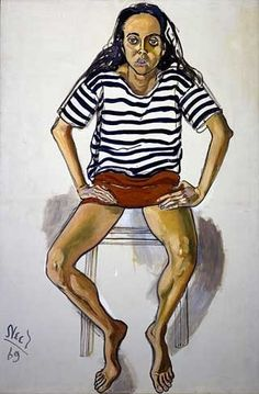 Ginny in striped shirt by Alice Neel 1969