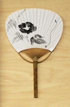 Japanese fan ink drawing hand fan Summer item by ArtGalleryReina, $39.50