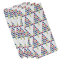 E by Design Jump for Joy Triangle Trees 2 Holiday Geometric Pattern Napkin - Set of 4 - N4HGN704IV3GR7