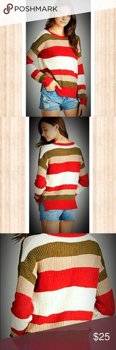 COMING SOON! Multi-Stripe Olive Red Cream Sweater Super Cozy Casual Multi-Stripe Olive Red Cream Sweater, 100% Acrylic, Limited Quantities Available. Sweaters Crew & Scoop Necks