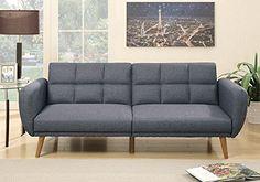 1PerfectChoice Modern Living Adjustable Sofa Bed Couch Futon Tuft Blue Grey Polyfiber Wood Leg