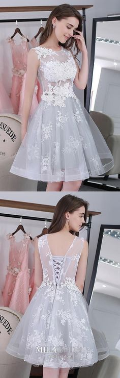 Gray Homecoming Dresses White, Short Homecoming Dresses A Line, Tulle Homecoming Dresses Modest, Lace Homecoming Dresses For Teens