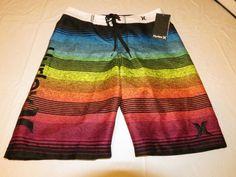 Boys Hurley youth 12 26 swim board shorts NWT surf skate brand multi stripes  #Hurley #Everyday