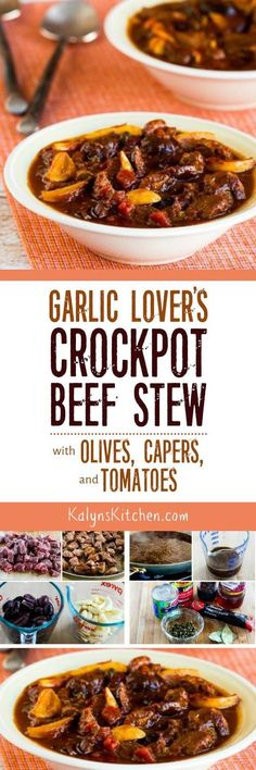 Garlic Lover's Crockpot Beef Stew with Olives, Capers, and Tomatoes found on KalynsKitchen.com