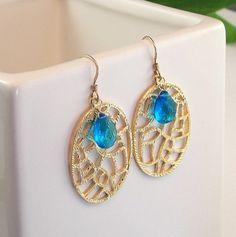 Gold Filigree Caribbean Neon Blue Quartz Earrings by ZionShore