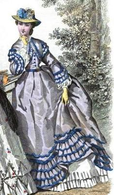 1863.  La Mode Illustree.  Multiple layers of bound ruffles, with ruched heading.