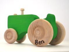 Green Wood Toy Tractor Personalized Wooden Toy by hcwoodcraft