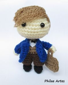Newt scamander amigurumi fantastic beasts and where to find them movie harry potter pattern crochet crochê patron pdf by philae artes