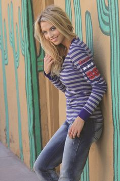 Blue Stripe Henley by CRUEL GIRL - Printed stripe poly-rayon slub jersey henley, custom patch, metal buttons #cowgirl #westernfashion #fashion #cruelgirl