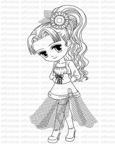 Shy Girl Digi Stamp, Digital Stamp, Big eyed girl Coloring page, Printable Line art for Card and Craft Supply, Art by Mi Ran Jung