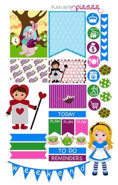 Disney ALICE IN WONDERLAND Inspired Weekly Planner theme sticker set Perfect for Erin Condren Life Planner