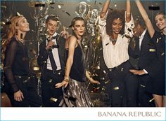 Models Janis Ancens and Nate Gill get in the holiday spirit with Banana Republic for the brand's new campaign.