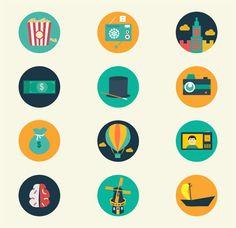 レトロで可愛いベクターアイコン110個セット。ポップコーンやローラースケートに目覚まし時計など。 Logos, Illustration, Anime, Free, Coloring, Illustrations, Anime Shows, Logo