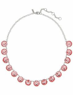 """A sweet treat to glitz up any outfit, our short silvertone necklace sparkles with faceted """"cupcake"""" stones. Lobster claw closure with extender.  lanebryant.com"""