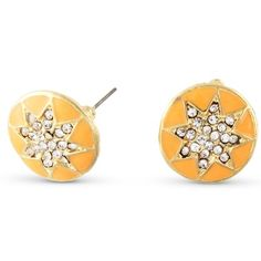 Check out our tangerine orange pave star disc stud earrings.  They are a a whole lotta style for only 10 bucks!  #orange #star #studs