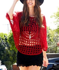 This Burgundy Crochet Lace Top is perfect! #zulilyfinds