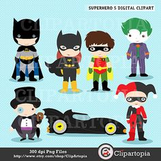 Superhero 5 Digital Clipart For Personal and by ClipArtopia Superhero Classroom, Superhero Kids, Superhero Party, Clip Art Pictures, Silhouette Clip Art, Cute Clipart, Shaped Cards, Line Sticker, Marvel