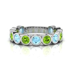 Silver Topaz and Peridot Ring. Romantic Dinners, Eternity Ring, Peridot, Topaz, Turquoise Bracelet, Bracelet Watch, Rings, Silver, Fun